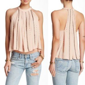Free People Shimmer & Shine Beaded Tank Top Pink S
